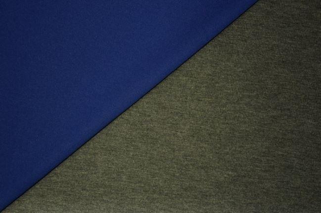 Dwustronna tkanina kostiumowa w kolorze kobaltowo-szarym 13035/650