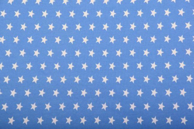 Dzianina bawełniana niebieska w białe gwiazdki KC1072-005