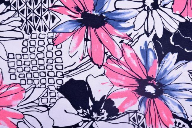 Dżersej wiskozowy biały w duże kwiaty 11209/013
