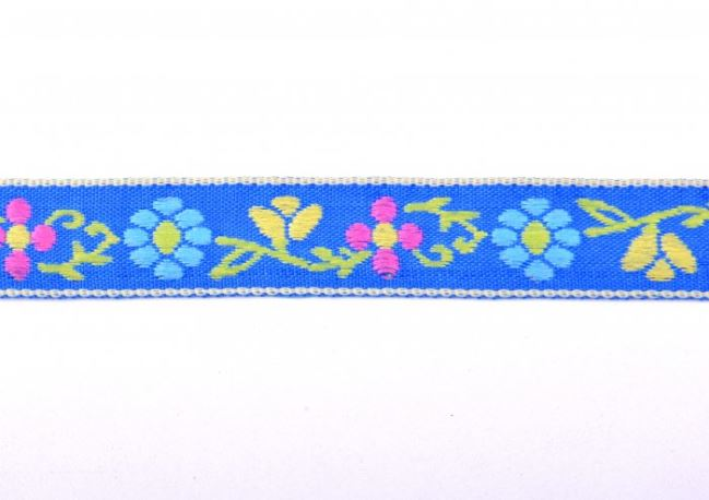 Tasiemka ozdobna niebieska w tkane kwiatki 30118