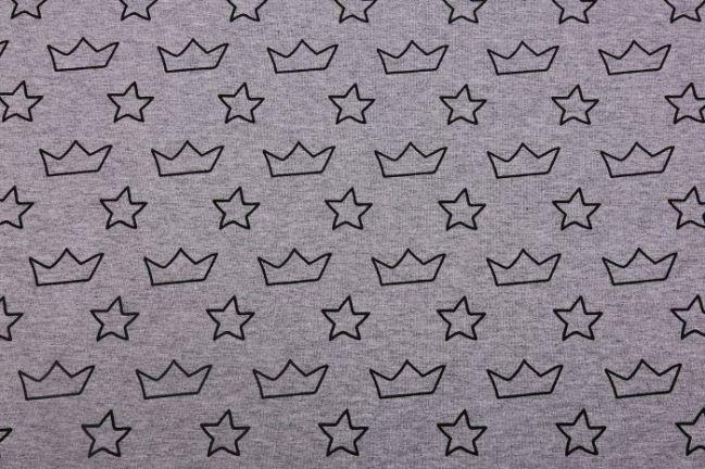Dzianina bawełniana w korony i gwiazdki 9816/063