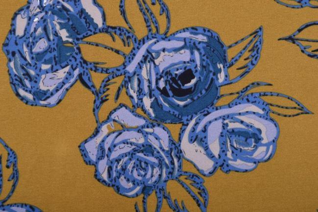 Tkanina bluzkowa musztardowa w kwiaty 10224/037