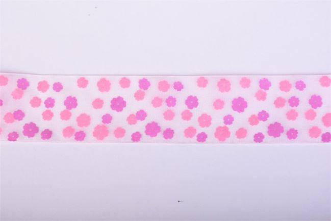 Wstążka 40 mm z organzy w kwiatki 11487