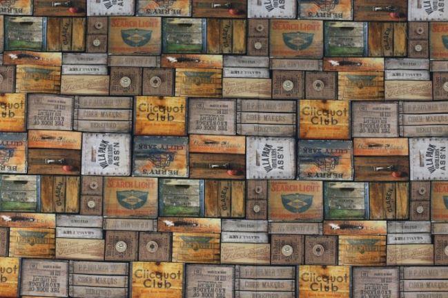 Tkanina dekoracyjna ze zdjęciem starych drewnianych skrzyń 1078/053