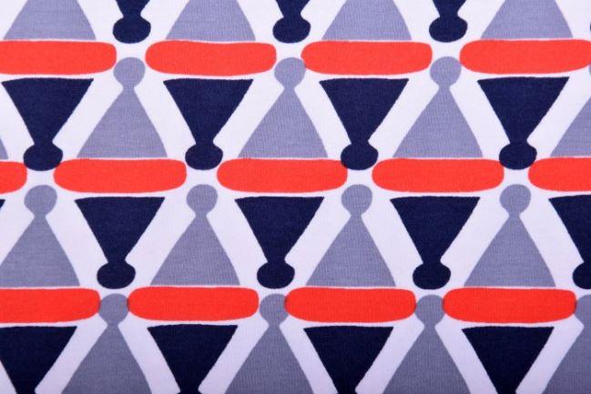 Dzianina bawełniana z geometrycznym wzorem KC1259-002