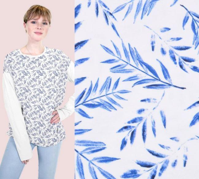 Dzianina bawełniana z cyfrowym narukiem niebieskich liści 16479/050