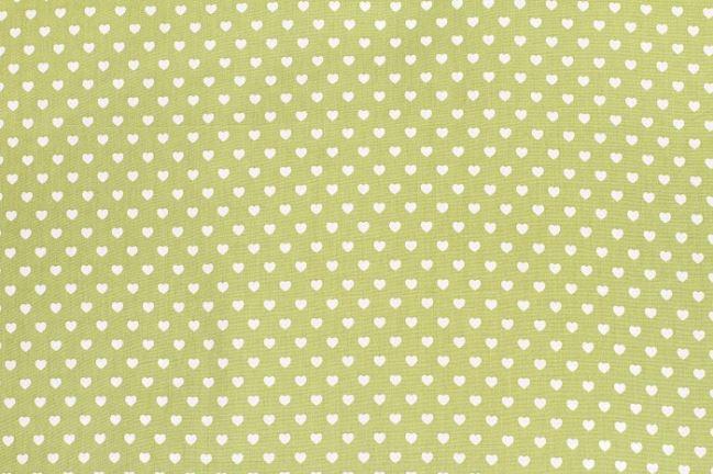 Bawełna zielona w serduszka 1264/24