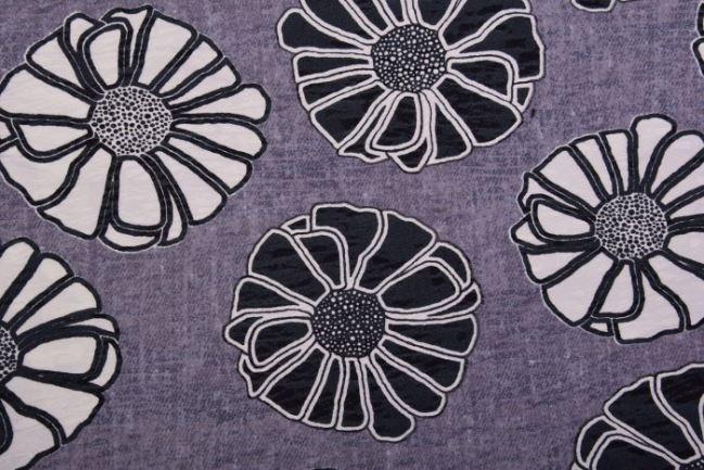 Tkanina kostiumowa szara w czarno-białe kwiaty 2030/069