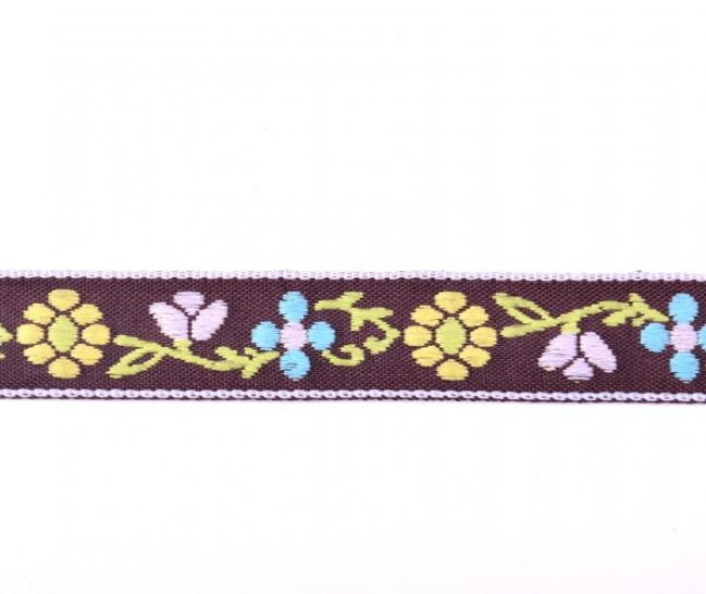 Tasiemka ozdobna brązowa w tkane kwiatki 30121