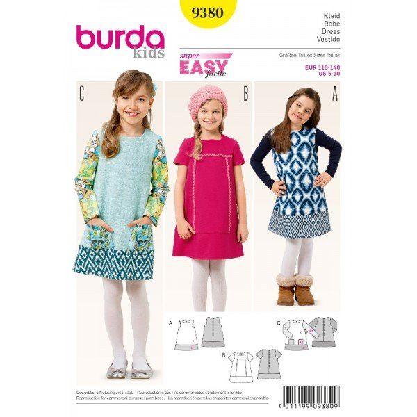 Wykrój na dziewczęce sukienki 9380