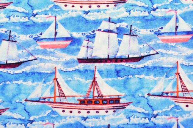 Dzianina bawełniana z cyfrowym nadrukiem łodzi 61410