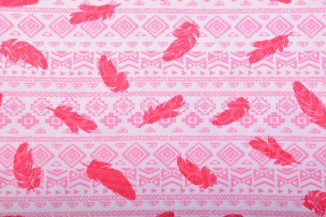 Dzianina bawełniana biała z różowym indiańskim wzorem KC1231-002