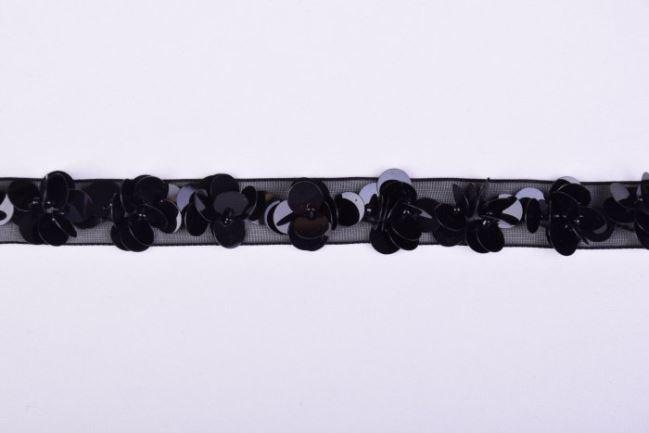 Przezroczysta czarna wstążka z cekinami w kształcie kwiatów 40997