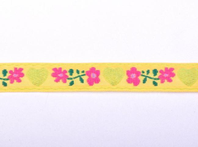 Tasiemka ozdobna żółta w tkane kwiatki 30124