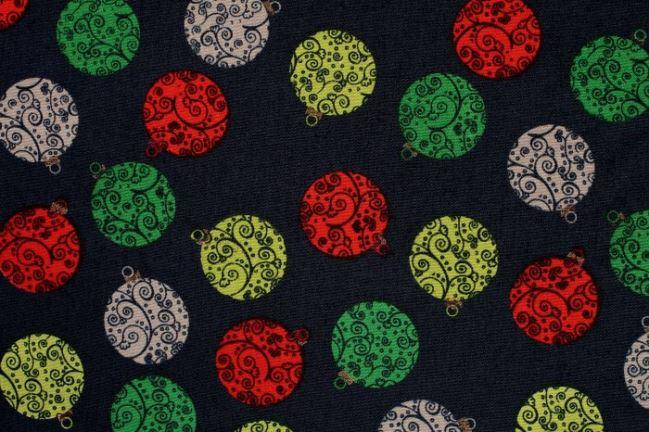 Bawełna świąteczna ze wzorem bombek 05989/008