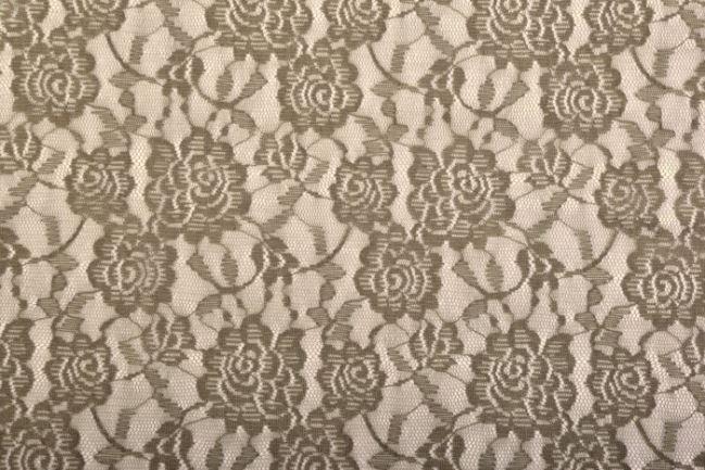 Koronka khaki z kwiatowym wzorem 02059/027