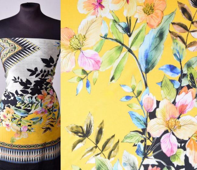 Tkanina bluzkowa kolorowa z dużym nadrukiem 150824/1