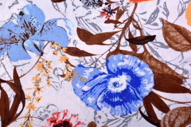 Tkanina wiskozowa z dodatkiem lnu i motywem kwiatów 2164/055