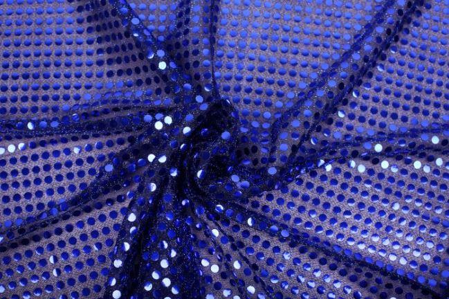 Tkanina czarna z kobaltowymi cekinami 05585/005