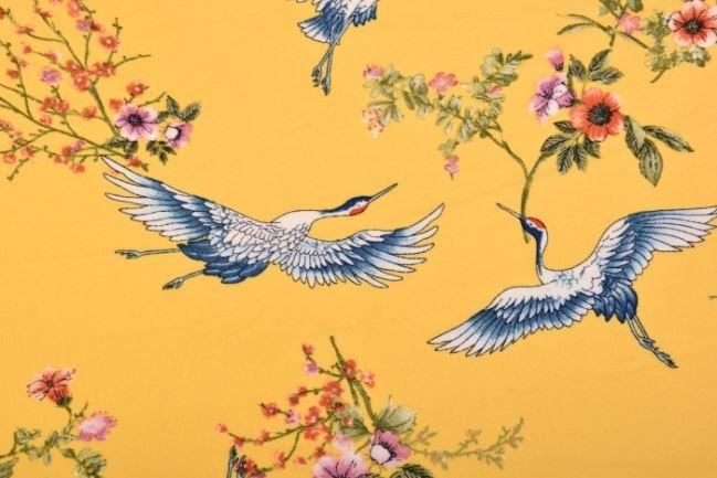Żorżeta żółta z nadrukiem kwiatów i ptaków 14935/570