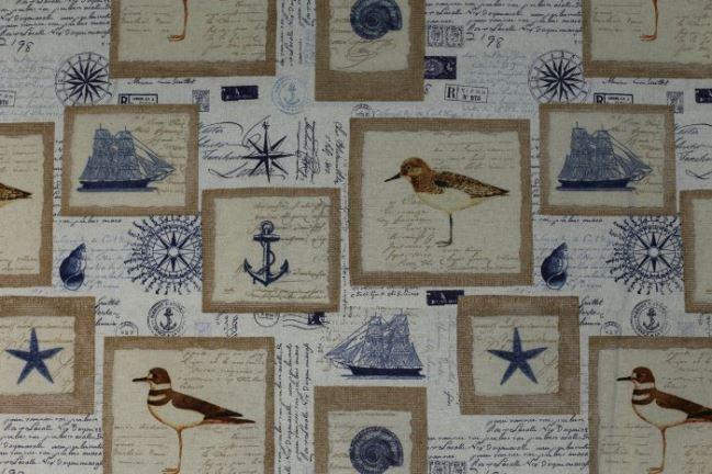 Tkanina dekoracyjna z nadmorskim nadrukiem 1163/052
