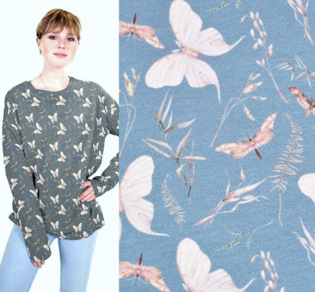 Dzianina bawełniana niebieska z cyfrowym nadrukiem motyli i trawy 16464/006