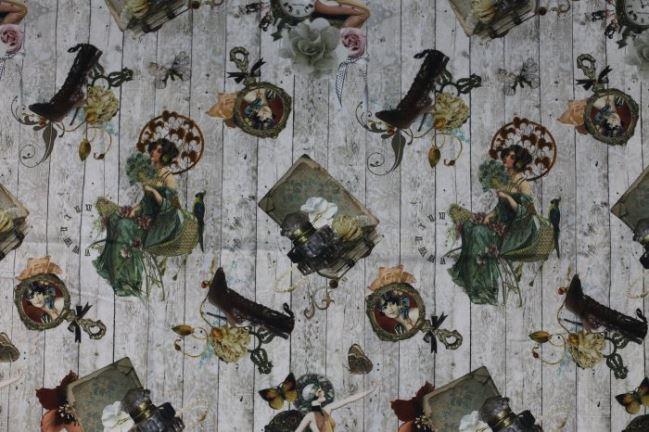 Tkanina dekoracyjna z XIX wiecznym motywem 1072/052