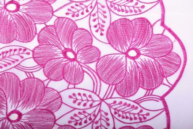 Szyfon biały z haftowanymi różowymi kwiatami SU7009-017