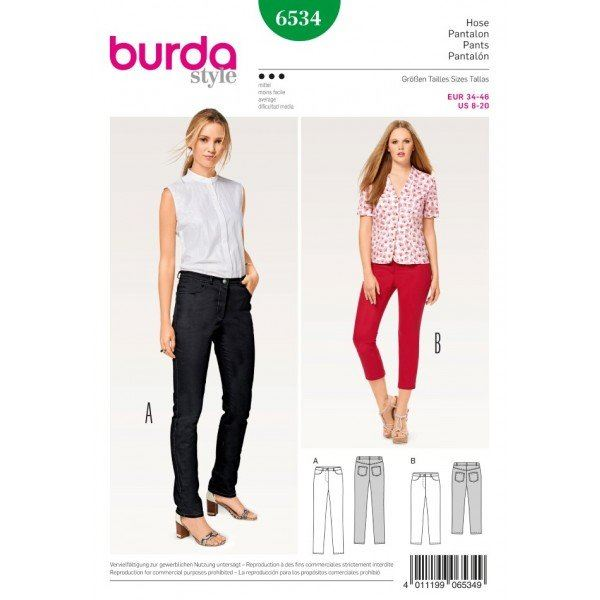 Wykrój na damskie dopasowane spodnie 6534