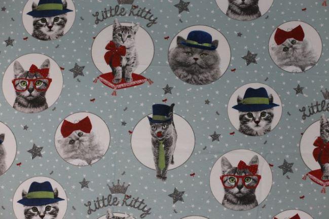 Tkanina dekoracyjna z nadrukiem kotków 1172/002