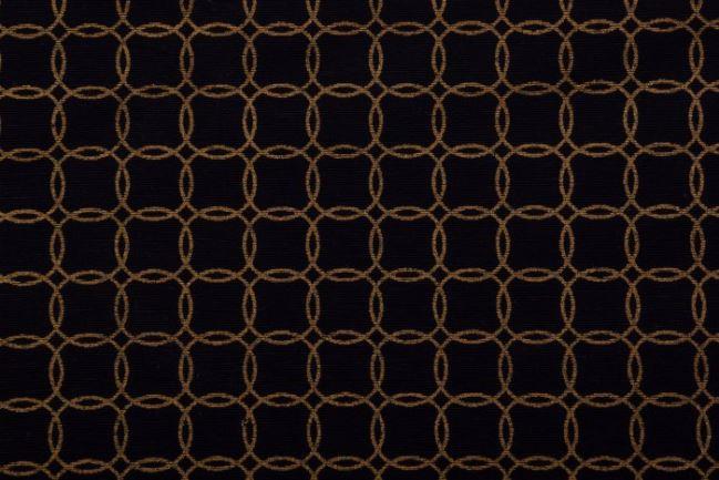Tkanina dekoracyjna czarna w miedziane kółeczka 1290/060