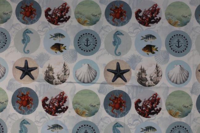 Tkanina dekoracyjna z cyfrowym nadrukiem morskich zwierząt 1051/008