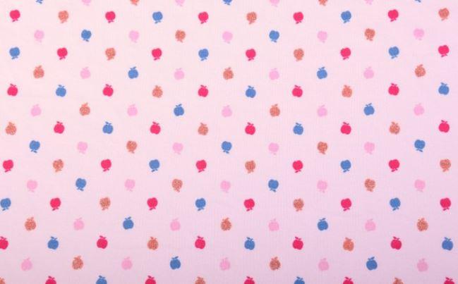 Dzianina bawełniana różowa w kolorowe jabłuszka AB-413