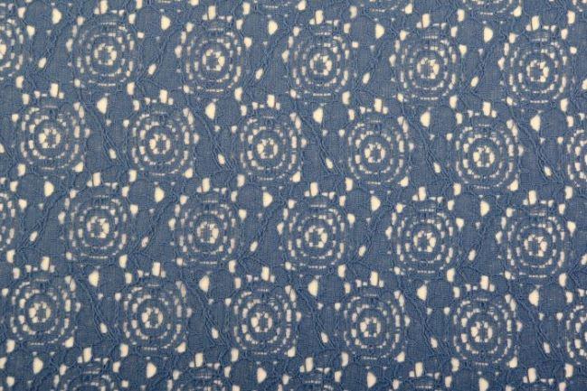 Koronka bawełniana w kolorze niebieskim  03046/006