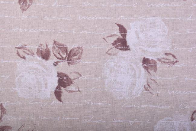 Tkanina dekoracyjna beżowa z nadrukiem napisów i kwiatów 1612/016