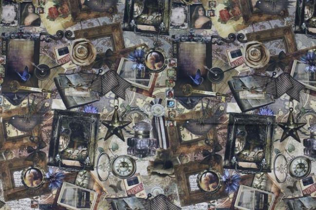 Tkanina dekoracyjna z cyfrowym nadrukiem staroci 1076/053