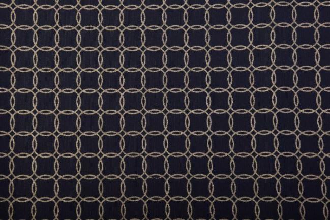 Tkanina dekoracyjna czarna w złote kółeczka 1290/080