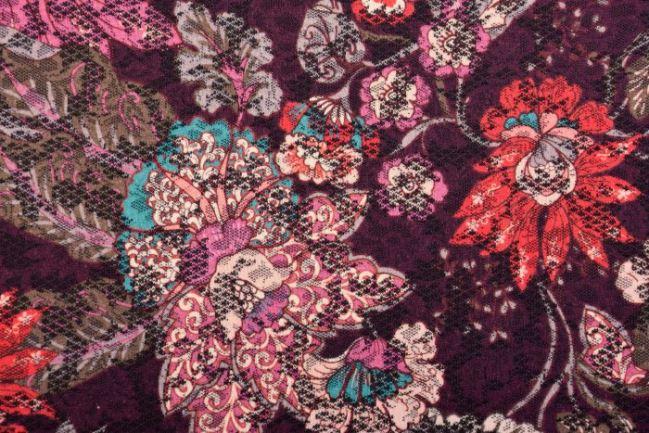 Dzianina żakardowa bordowa z nadrukiem kwiatów I04924/877