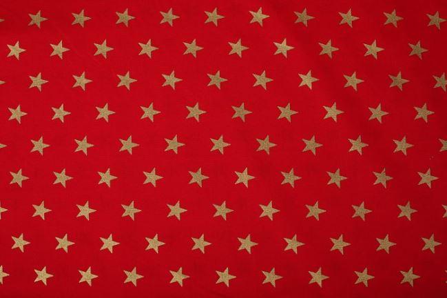 Bawełna świąteczna czerwona w gwiazdki 05181/015