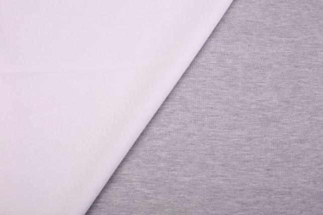 Dwustronna tkanina kostiumowa biało-szara 12535/020