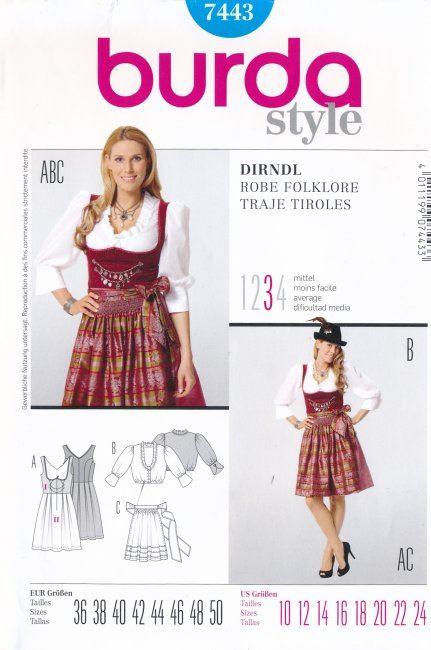 Wykrój na folklorową sukienkę 7443